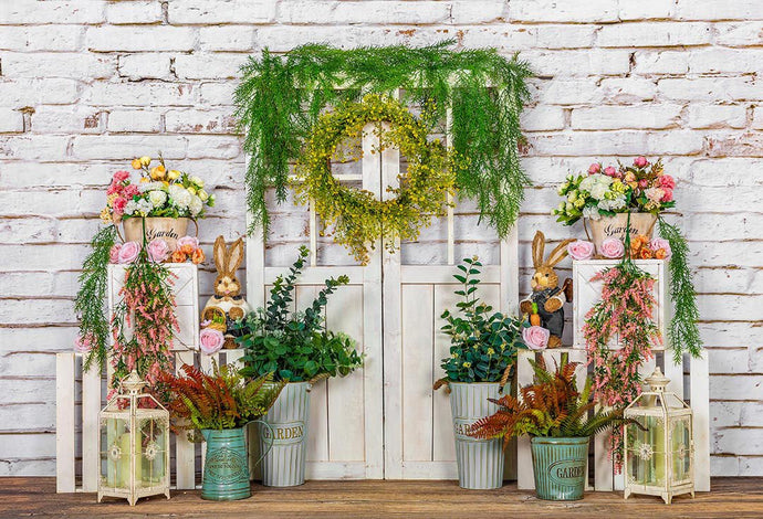 Kate Spring Vines Door White Brick Wall Backdrop Designed by Emetselch
