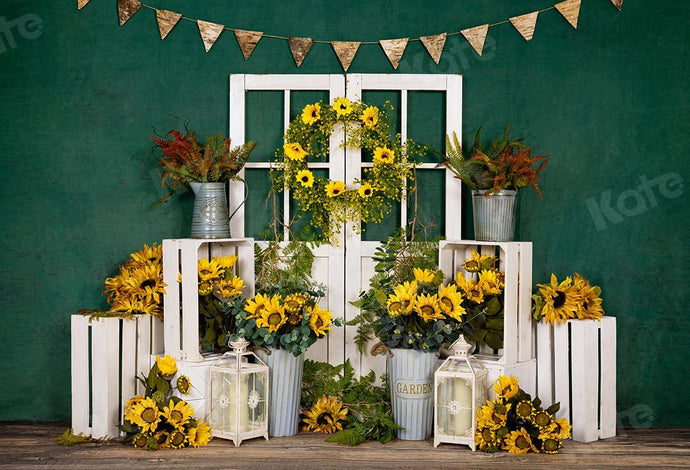 Kate Spring Sunflowers White Door Green Backdrop Designed by Emetselch