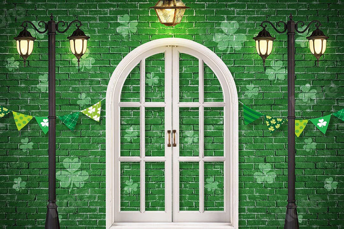 Kate St. Patrick's Day Shamrocks Window Backdrop Designed by Chain Photography