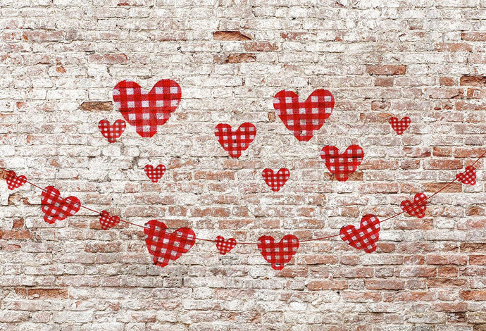Kate Valentine's Day Hearts Brick Wall Backdrop Designed by Kate Image