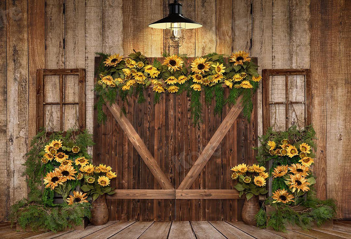 Kate Spring Sunflowers Wood Door Backdrop Designed by Emetselch