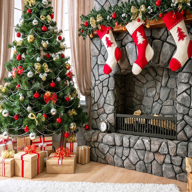 Kate Christmas Tree Backdrop Gift Box Stove Sock for Photography