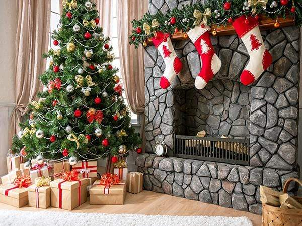 Load image into Gallery viewer, Katebackdrop£ºKate Christmas Tree Backdrop Gift Box Stove Sock for Photography