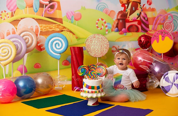 Kate Cake Smash Backdrop Candy Animation World for Children Photography