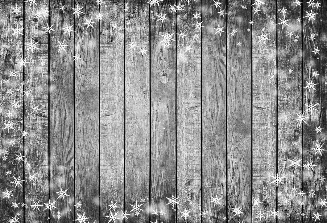 Katebackdrop£ºKate Christmas snowflake gray wood backdrop for photos