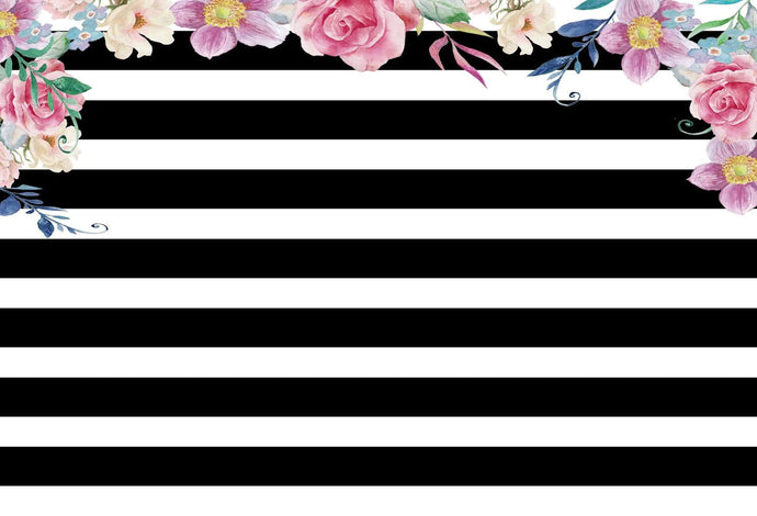 Kate Spade Backdrop Wedding Black and White Stripes Backdrop Flowers Birthday for Parties