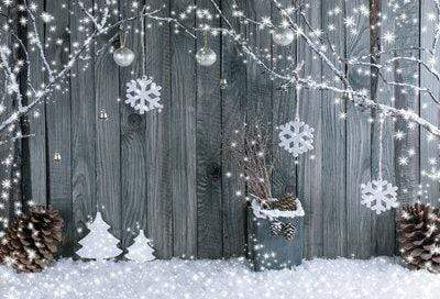 Kate Christmas Gray Wood Background Snow Decoration Backdrop