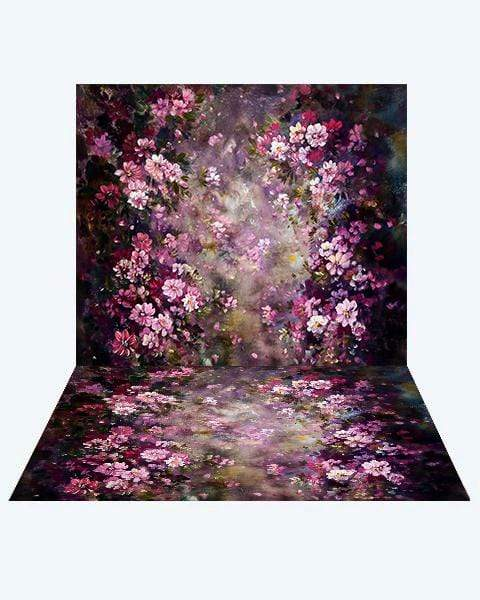 Load image into Gallery viewer, Kate Fantasy Purple Flowers Valentines Backdrop+ Fantasy Purple Flowers Rubber Floor Mat
