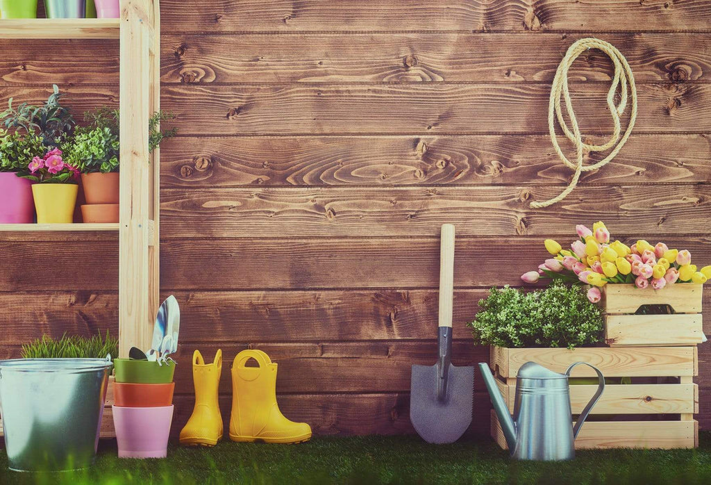Katebackdrop£ºKate Dark Wood Easter Backdrop Spring Background Gardener