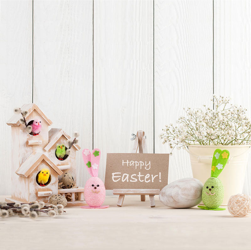 Load image into Gallery viewer, Kate Spring Happy Easter White Wood Description Backdrop