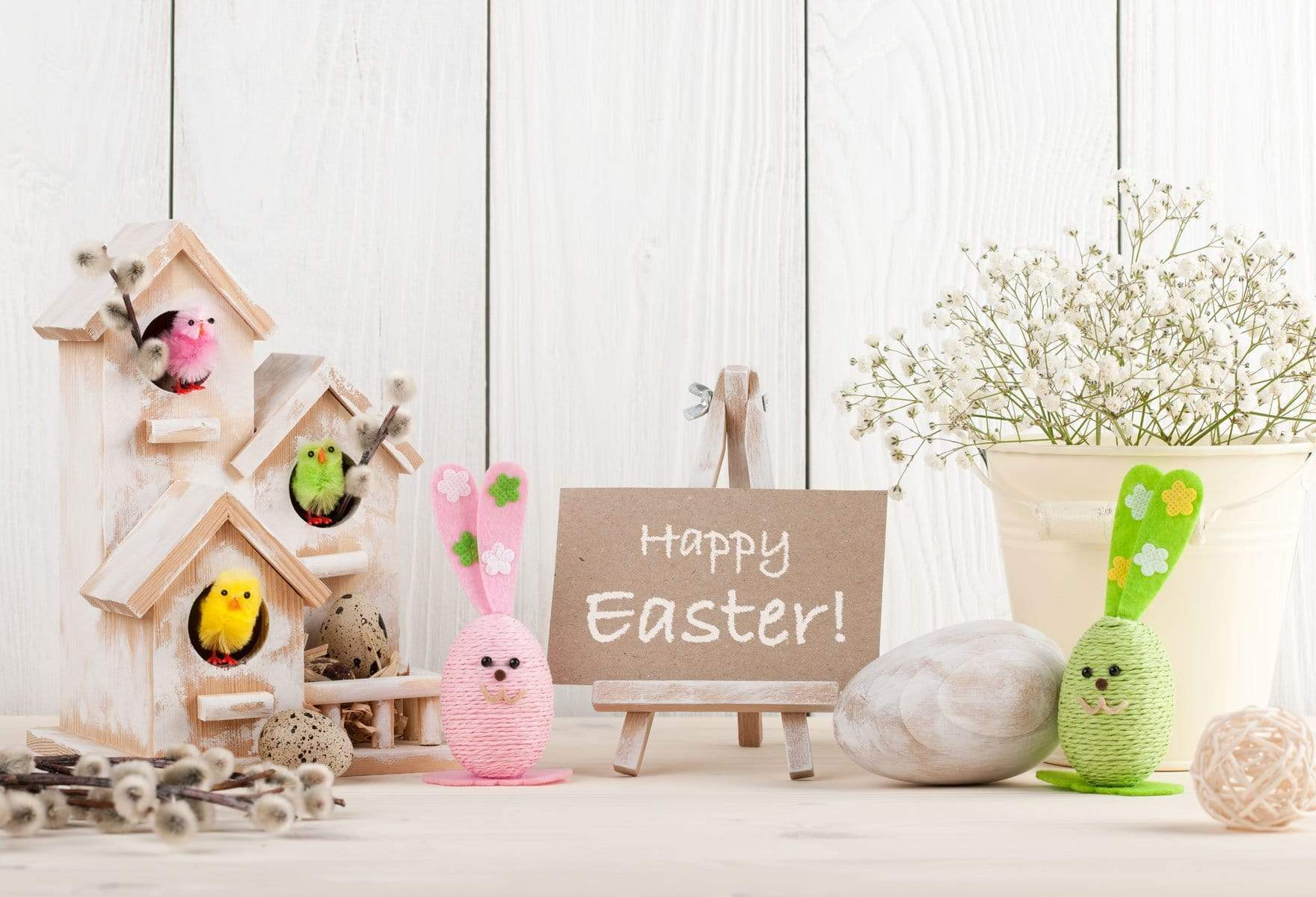 Load image into Gallery viewer, Katebackdrop£ºKate Spring Happy Easter White Wood Description Backdrop