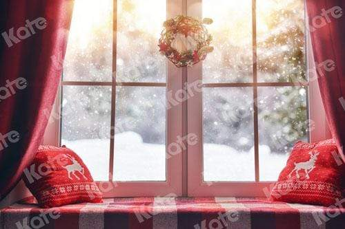 Kate Christmas Snow And Sunshine Outside Window Backdrops for Photography