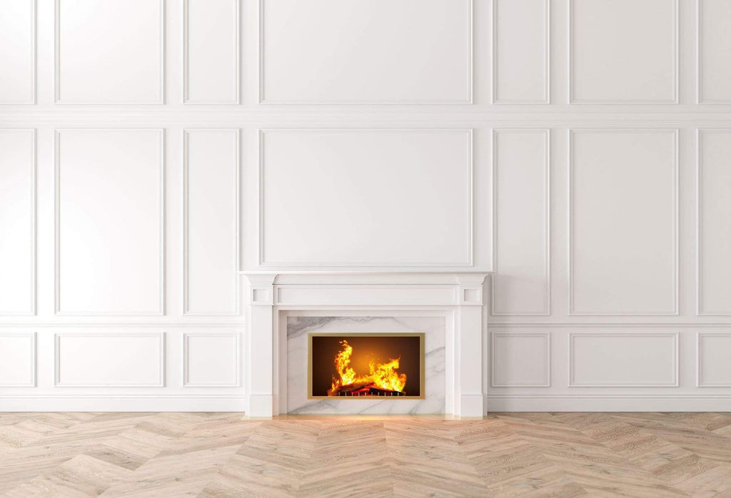 Kate White Elegant Wall With Fireplace Backdrop