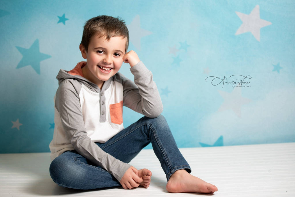Kate Soft Skies Blue Stars Backdrop Designed by Mini MakeBelieve