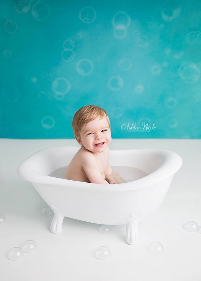 Load image into Gallery viewer, Kate Baby Shower Bubbles Backdrop for Photography Designed by Mini MakeBelieve