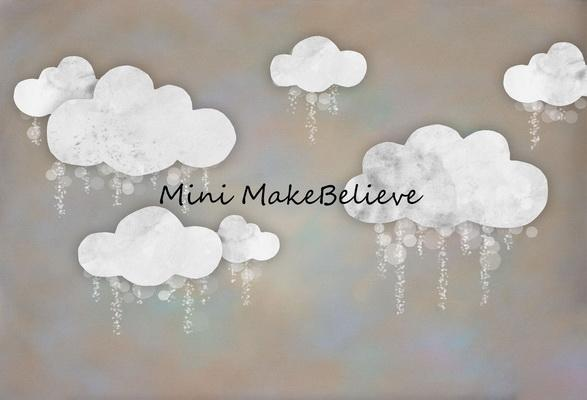 Load image into Gallery viewer, Kate Baby Shower Take Flight Winter Clouds Backdrop for Photography Designed by Mini MakeBelieve
