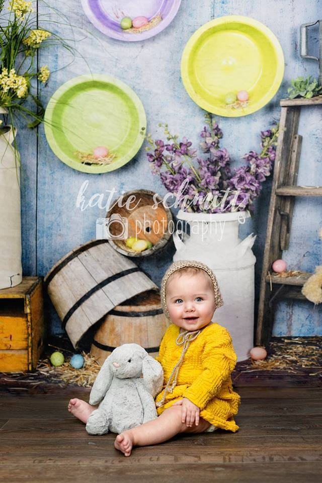 Load image into Gallery viewer, Kate Blue Easter Chicken Coop Backdrop designed by Arica Kirby