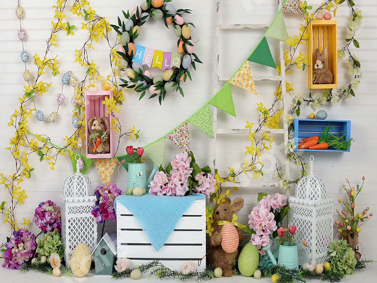 Load image into Gallery viewer, Kate Hello Spring Home Backdrop for Easter session
