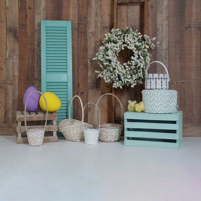 Load image into Gallery viewer, Kate Wood Wall Flowers Easter Decorations Spring Backdrop for Photography Designed by Tyna Renner