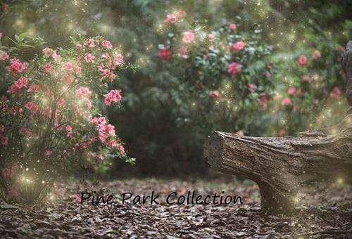 Load image into Gallery viewer, Kate Garden with log bench fairy lights spring Backdrop for Photography Designed by Pine Park Collection