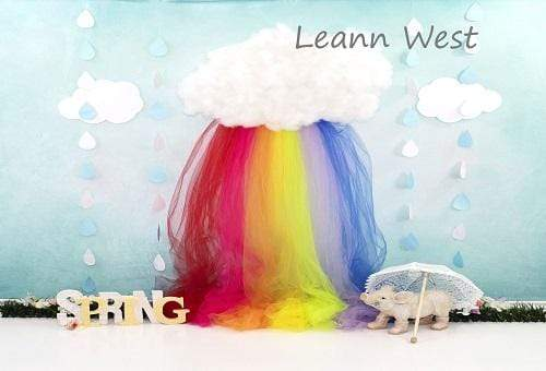 Kate Sping Rainbow with Decorations Children Backdrop for Photography Designed by Leann West