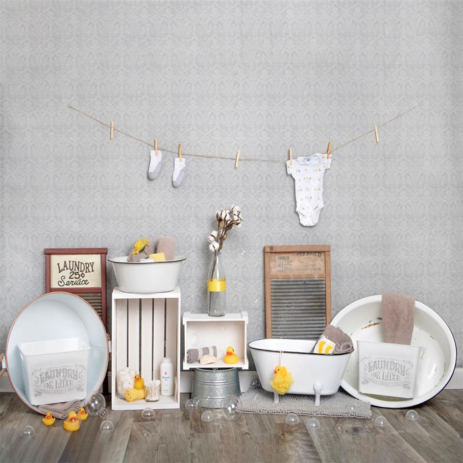 Kate Bath Time Baby Backdrop Summer Rubber Ducks and Bubbles Photos Designed by Erin Larkins