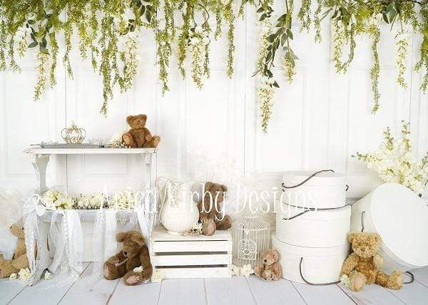 Kate Teddy Bear Vintage Florals Spring Backdrop designed by Arica Kirby