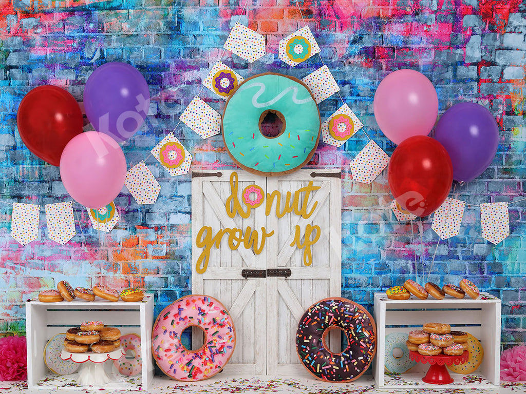 Kate White Door Balloons Banner Do Nut Grow Up Birthday Children Backdrop