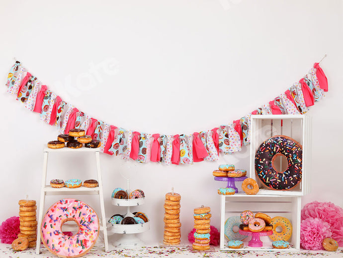 Kate Pink Donut Banners Children Backdrop