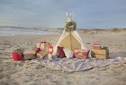 Kate Christmas Tent sea Beach Backdrop for Photography Designed by Danette Kay Photography