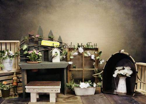 Load image into Gallery viewer, Kate the Potting Shed Spring Flowers Backdrop for Photography Designed by Amanda Moffatt