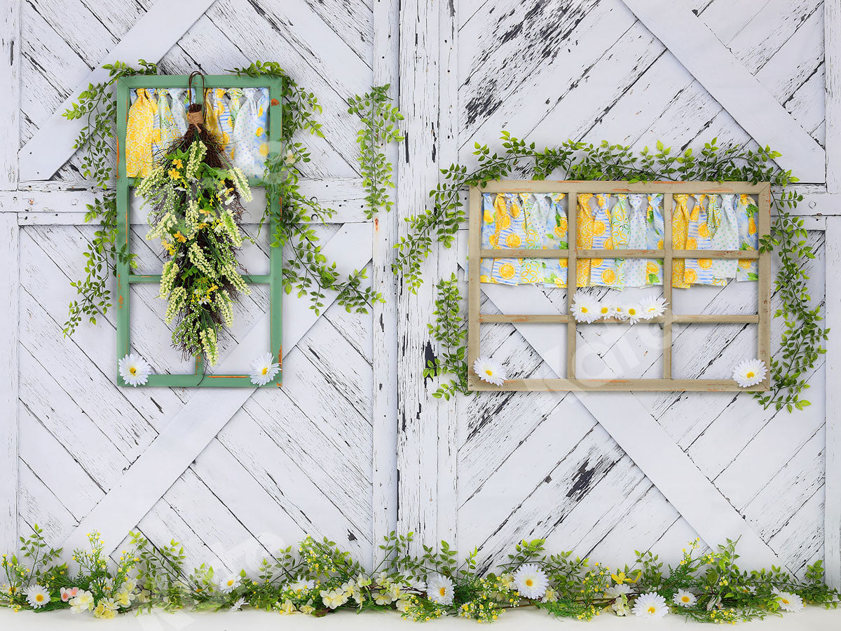Load image into Gallery viewer, Kate Retro Wood Lemon color and Daisies  Spring Backdrop