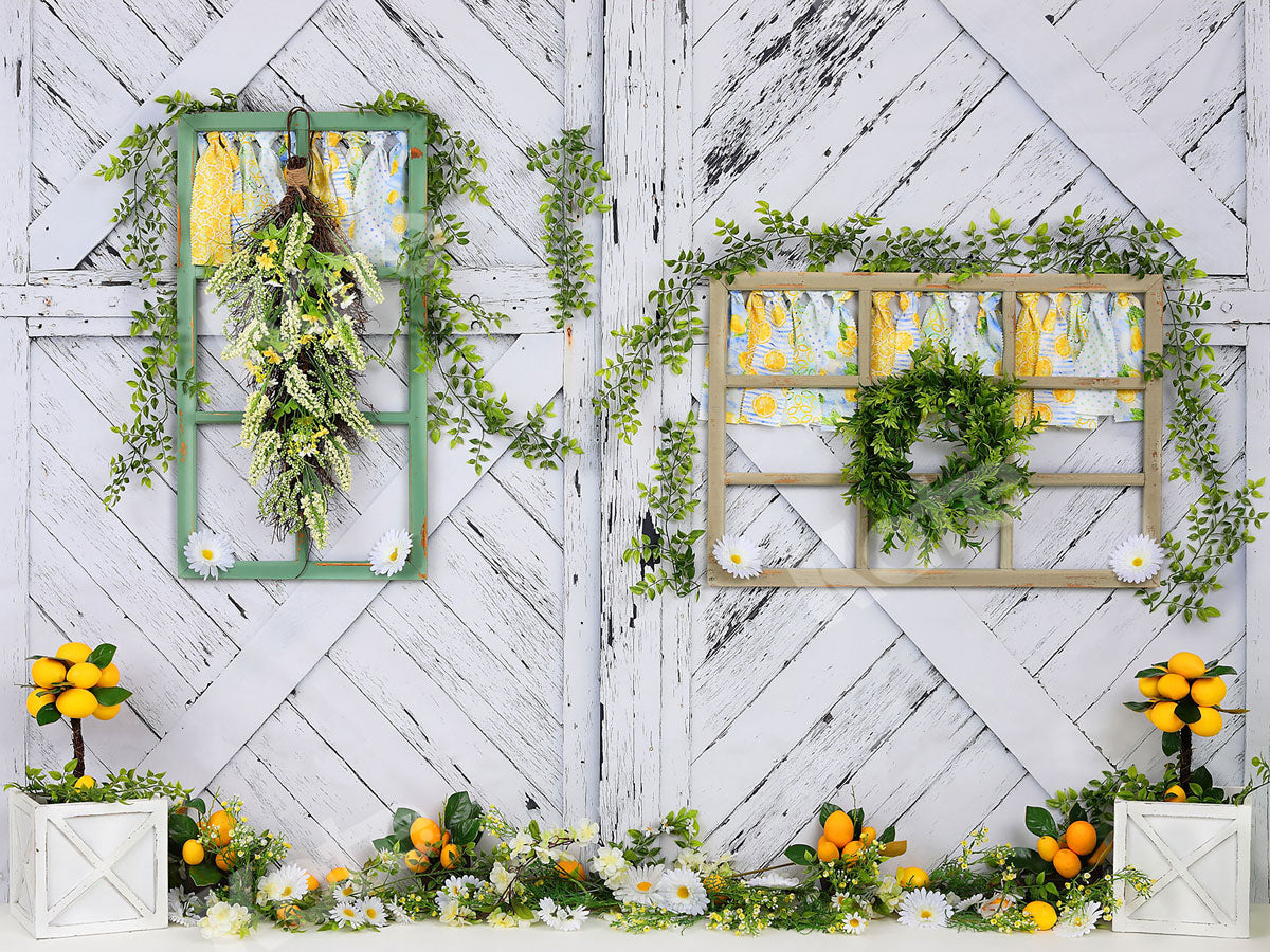 Load image into Gallery viewer, Kate Retro Wood Summer Daisies Lemon Backdrop