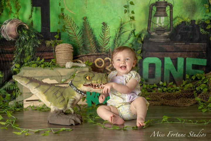 Kate Jungle 1st Birthday Summer Backdrop Designed by Arica Kirby