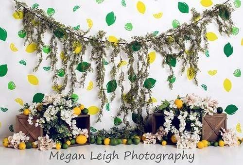 Load image into Gallery viewer, Kate Lemon Lines with Flowers Summer Children Backdrop for Photography Designed by Megan Leigh Photography