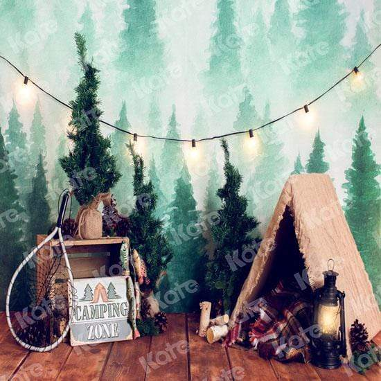 Load image into Gallery viewer, Kate Forest Camping Children Summer Backdrop for Photography Designed by Megan Leigh Photography