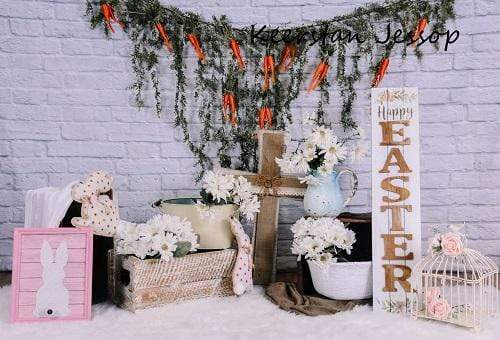 Load image into Gallery viewer, Kate Brick Wall with Carrots Banners Easter Backdrop for Photography Designed by Keerstan Jessop