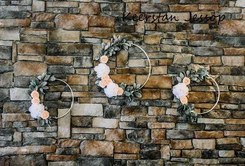Kate Rock Stone Wall with Garland Backdrop for Photography Designed by Keerstan Jessop