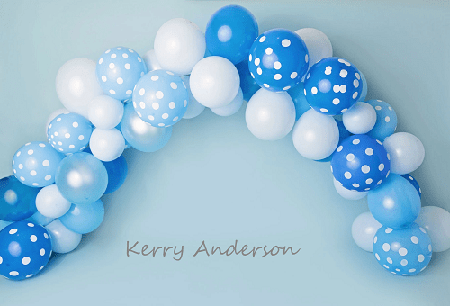 Kate Blue and White Balloons Birthday Children Backdrop for Photography Designed by Kerry Anderson
