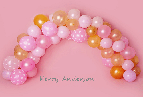 Kate Pink and Gold Balloons Birthday Children Backdrop for Photography Designed by Kerry Anderson