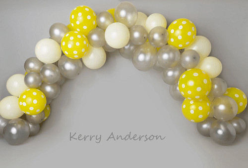 Kate Yellow and Gray Balloons Birthday Children Backdrop for Photography Designed by Kerry Anderson