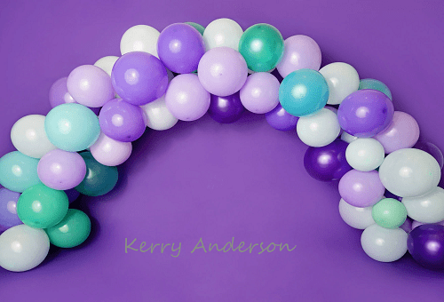 Kate Purple Balloons Birthday Children Backdrop for Photography Designed by Kerry Anderson