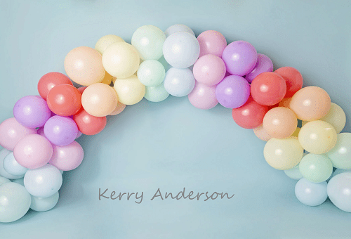 Kate Rainbow Balloons Birthday Children Backdrop for Photography Designed by Kerry Anderson