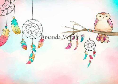 Kate Colored Feather Boho Owl Dreams Backdrop for Photography Designed by Amanda Moffatt