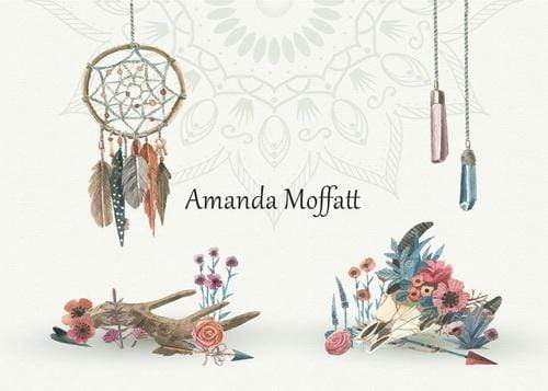 Kate Flower Feather Boho Western Backdrop for Photography Designed by Amanda Moffatt
