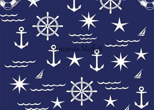 Kate White on Blue Nautical Patterns Backdrop for Photography Designed by Amanda Moffatt