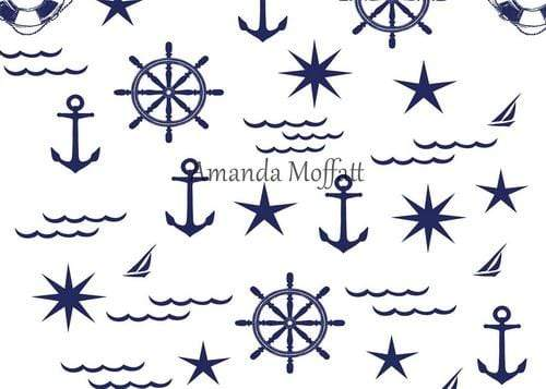 Kate Blue on White Nautical Patterns Backdrop for Photography Designed by Amanda Moffatt