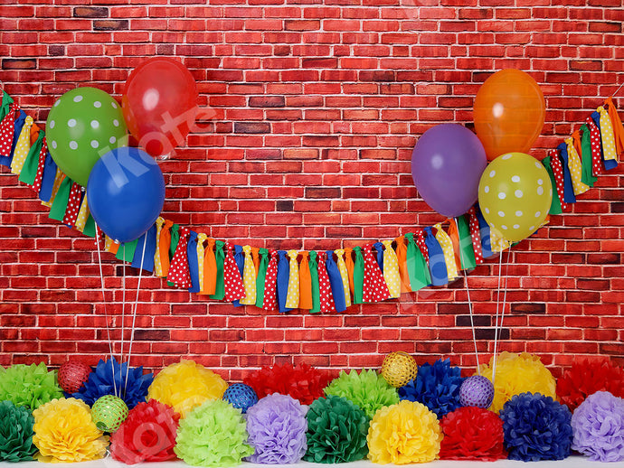Kate Brick Wall with Colorful Balloons Backdrop
