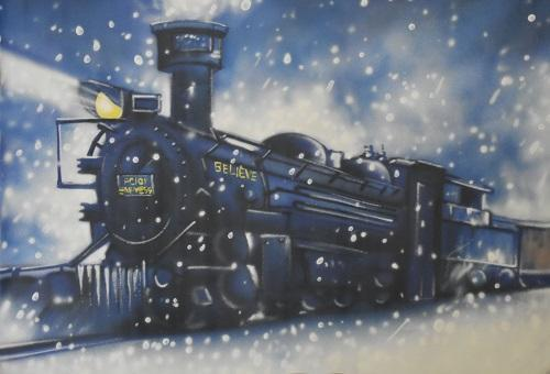 Kate Christmas Train Vintage Painted Backdrop Designed By Jerry_Sina