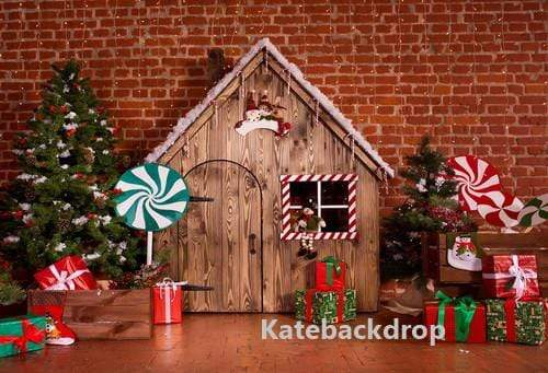 Load image into Gallery viewer, Kate Christmas Wooden House Decorations Backdrop for Photography